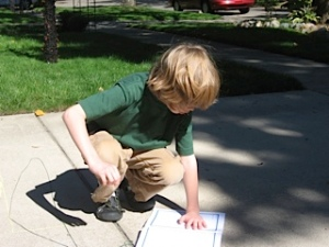 Exploring pi and the history of the number on the driveway.